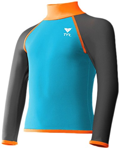 TYR Men's Solid Rashguard (Little Big Kids), Blue/Orange, Medium