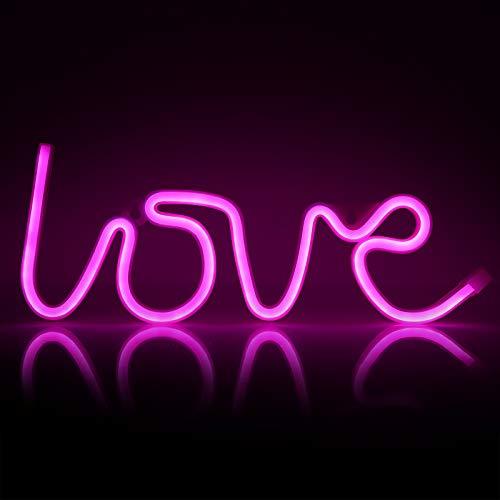 ZWOOS Insegne luminose per camera da letto - Insegna al neon LED alimentata a batteria o USB - Lampe neon per Natale, feste, bar (Love)