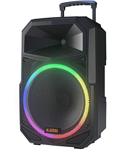 LAGRIMA LPS-600 15-Inch 2-Way 1800W Portable PA Speaker System with Stand, 3 LED Conversion Mode, Bluetooth DJ Karaoke Machine with Microphone for Party, Meeting, Outdoor/Indoor