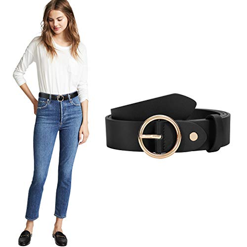 Ladies PU Leather O Ring Belt for Jeans Dress with Golden Round Buckle (Suit for pants size 30-35 Inches, black)