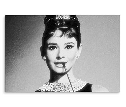Paul Sinus Art 120x80cm Leinwandbild auf Keilrahmen Audrey Hepburn Portrait Gesicht schwarz weiß Wandbild auf Leinwand als Panorama