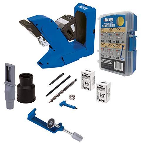 Kreg Pocket-Hole Jig 720 with KPHA760 Pocket Hole Jig Hold Down Clamp and the SK04 Starter Pocket Hole Screw Kit