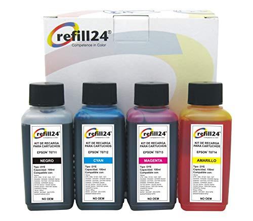 Kit de Recarga para Cartuchos de Tinta Epson T0711-T0714, T0891-T0894 Negro y Color + 400 ml