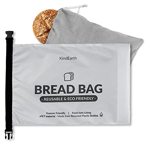 KindEarth - Bread Bags, Reusable Bread Storage Keeper for Freezer, Extra Large Loaf Container, Organic Linen Cloth Cotton Bag, Gift Giver for Bread Maker, Keeps homemade Sourdough Bread Fresh