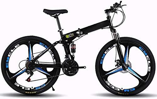 Bicicletas de montaña para adultos plegables MTB Bicicletas plegables al aire libre Bicicletas extranjeras plegadas dentro de 26 pulgadas 21 velocidades para bicicleta al aire libre-negro