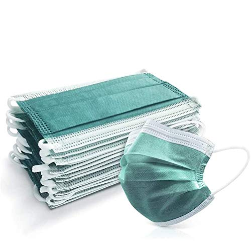 Gually 50 Pezzi 3 Strati Verde Giada, Protezione Contro Il Contatto e la Diffusione, Protezione della respirazione a Prova di Polvere USA e Getta, Attrezzatura Antipolvere Esterna
