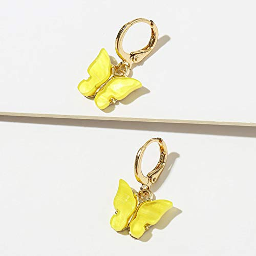 AQUALITYS Fashion Candy Color Butterfly Earrings For Women Korean Insect Acrylic Charm Stud Earring Girls Indian Jewelry-yellow