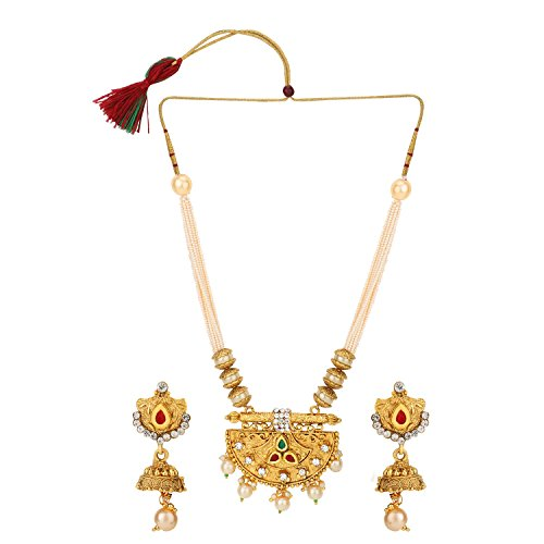 Efulgenz Indian Bollywood Traditional Rhinestone Faux Ruby Emerald Pearl Beaded Collar Strand Antique 18K Gold Tone Plated Necklace Jewelry Festive Costume Accessories for Women