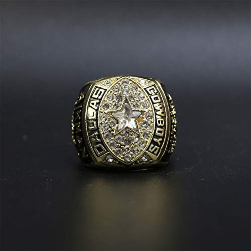 SUI 1992 Dallas Cowboys NFL Super Bowl Anillo De Campeonato Replica MVP Football Superstition Colección para Hombres Regalo, Sin Caja(Color:Dorado)