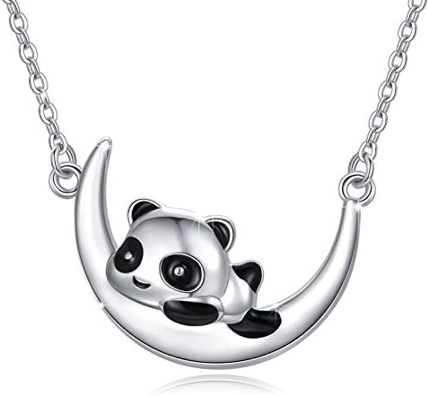 925 Sterling Silver Panda Necklace Panda on Crescent Moon Pendant Necklace Jewelry Gifts Cute product image