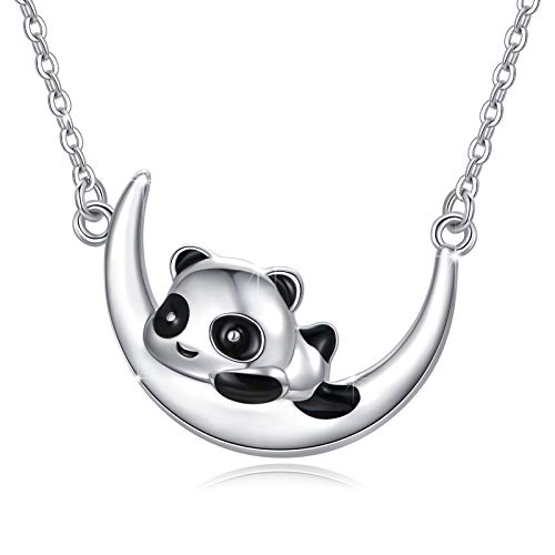 925 Sterling Silver Panda Necklace Panda on Crescent Moon Pendant Necklace Jewelry Gifts Cute Animal Necklace Jewelry Gifts for Women Girls Birthday Christmas Valentines Day