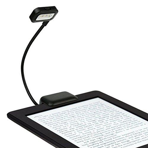 SparY - Lámpara de lectura flexible portátil para Kindle de Amazon, lector de libros electrónicos/PDA, lector de libros electrónicos, tableta, libro (45 x 45 x 300 mm), color negro