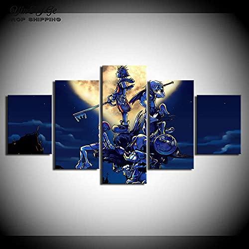 Aiyong Lienzo para pared, diseño de corazones del reino, cuadro de juego de pintura creativa envuelta, arte moderno, decoración del hogar para sala de estar/dormitorio, 5 piezas (solo lienzo)