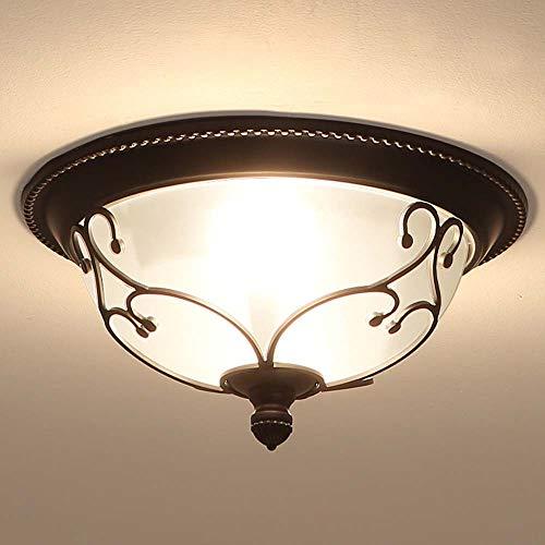 ZXJUAN Deckenleuchte LED Schmiedeeisen Runde Kristallglas-Deckenleuchter Einfach Wohnzimmer Schlafzimmer Esszimmer Lampen