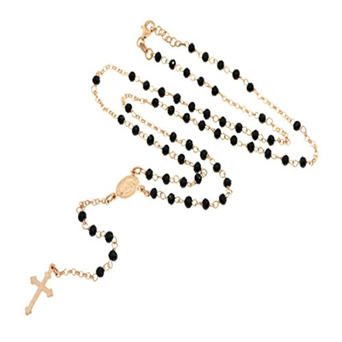 Sinfonie Rosenkranz-Halskette in 925er Rosésilber mit schwarzen Perlen, 49cm