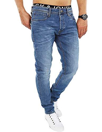JACK & JONES Herren Slim Fit Jeans Denim Used Look (31, Blue Denim)