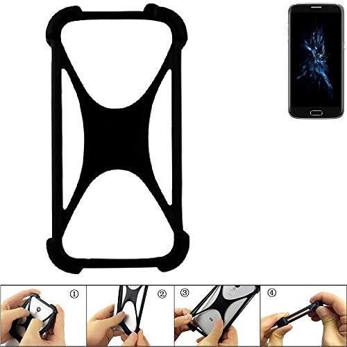 K-S-Trade® Handyhülle Für Bluboo Edge Schutz Hülle Silikon Bumper Cover Case Silikoncase TPU Softcase Schutzhülle Smartphone Stoßschutz, Schwarz (1x),