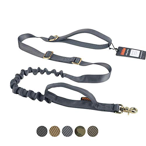 EXCELLENT ELITE SPANKER Tactical Dog Leash Adjustable K9 Military Bungee Dog Leash Elastic Leads Rope with 2 Control Handle (Grey)