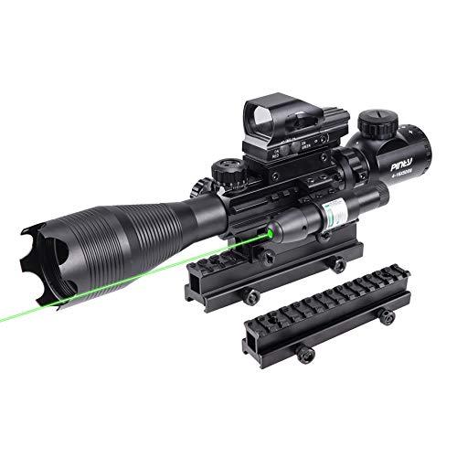 Pinty Rifle Scope 4-16X50 Illuminated Optics Sight Green Laser, Reflex Holographic Dot Sight, Riser...