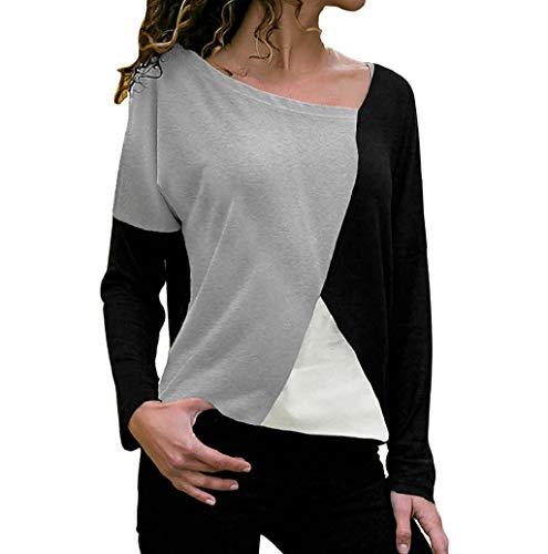 Femme Casual Lache Col en V Asymétrique T-Shirt Manches Longues avec Patchwork Bloc de Couleur Géométrique Haut Tops Blouse Tunique Chemise Pull Chemisier LONUPAZZ