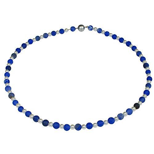 Funk-Collier Edelsteinkette Blauer Struktur Achat mit Muschelkernperle, ca. 45 cm, Magnetschloß, Damen