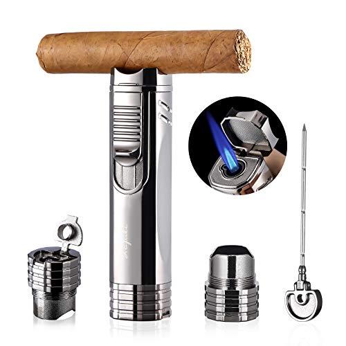 LAFULI Cigar Lighter, Cigar Punch, Cigar Draw Enhancer, Cigar Holder,All-in-one Refillable Butane Torch Lighter. Cigar Accessories(Gas Not Included)