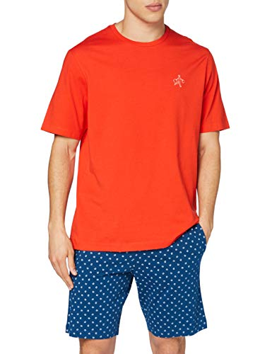 Eminence Men's GLOBE TROTTEUR Pajama Set, Orange Bas Valise Bleu, Medium