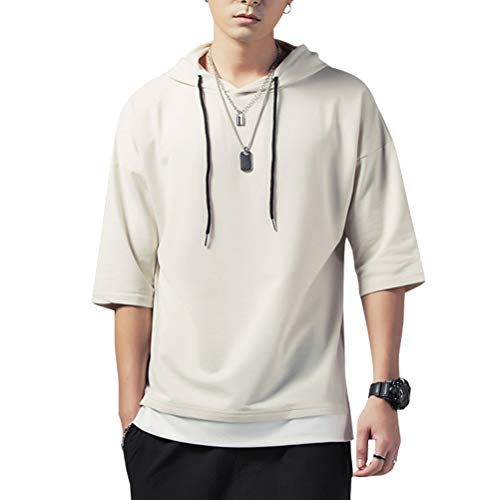 Hisitosa パーカー メンズ Tシャツ 半袖 無地 七分袖 ゆったり カジュアル プルオーバー おしゃれ 大きいサイズ カットソートップス フード付き 春 夏 (XL, あんずいろ)
