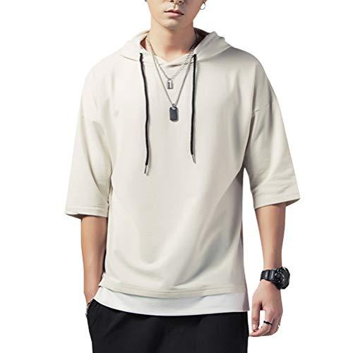 KENAIJING Herren T-Shirt mit Kapuze T Shirt Hoodie Pullover Sweatshirt (Aprikose, L (Gewicht50-60KG -Höhe165-170cm))