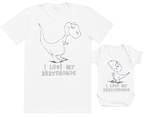 Zarlivia Clothing I Love My Daddysaurus - Passende Vater Baby Geschenkset - Herren T-Shirt & Baby Strampler/Baby Body - Weiß - Large & 0-3 Monate