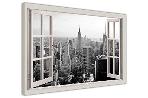 Canvas It Up Stampa Artistica su Tela, Motivo Panorama di New York in Bianco e Nero incorniciato da Una Finestra, 101cm x 76cm