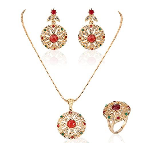 QNONAQ Joyería Vintage Forme la joyería India Conjuntos Retro Hueco Tallado Estilo étnico Estilo étnico Pendientes Anillo para Las Mujeres Conjunto (Main Stone Color : Red, Metal Color : Ring Size 9)
