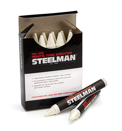 Steelman White Tire Marking Crayons for Mechanics, Mark Tire Damage, Box of 12
