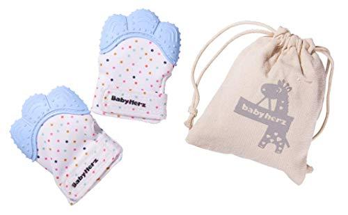 Baby Beißring Handschuh ab 0 bis 6 Monate für Jungs Set - 100% BPA-Frei Set (2 Stück) (Blau)