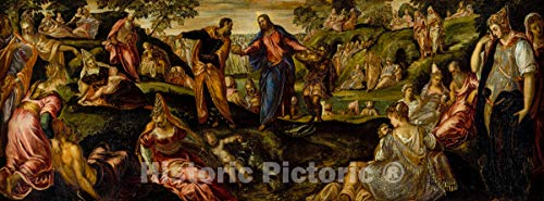 Historic Pictoric Art Print : Jacopo Tintoretto (Jacopo Robusti) - The Miracle of The Loaves and Fishes : Vintage Wall Décor : 24in x 09in