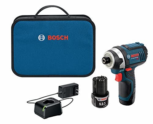 Product Image of the BOSCH PS41-2A 12V Max 1/4-Inch Hex Impact Driver Kit with 2 Batteries, Charger and Case,Blue