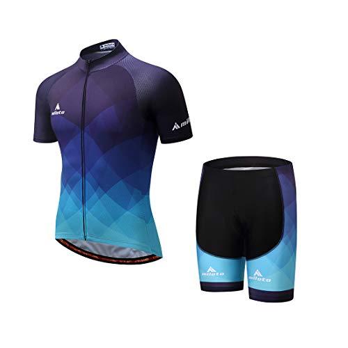 GWELL Herren Radtrikot Atmungsaktive Fahrradbekleidung Set Trikot Kurzarm & Radhose mit Sitzpolster für Radsport Blau EU 3XL