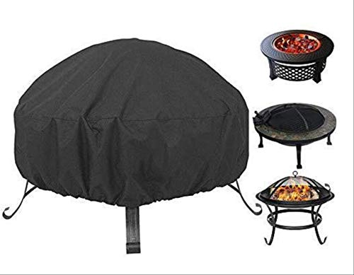 Grantien Premium Fire Pit Cover,Waterproof Firepit Cover,Windproof,Anti-Uv,Ripproof For Outdoor Garden Patio Round Black 85X40Cm