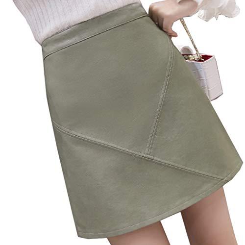 Azastar dames PU-leer A-lijn rok mini rok herfst winter elegant hoge taille rok