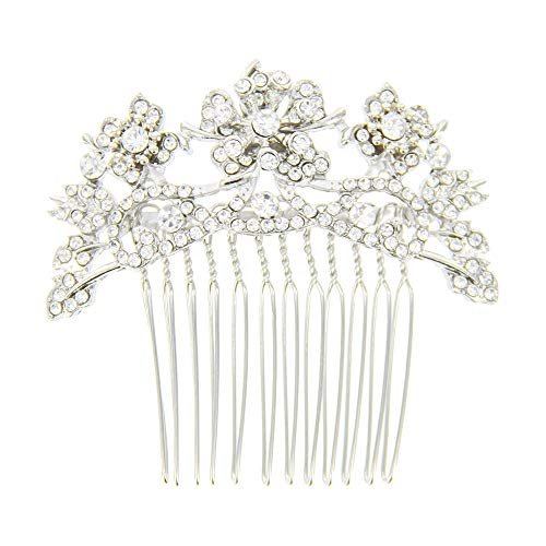 Charming Charlie Women's Floral Rhinestone Hair Comb - Styling Accessories, Hypoallergenic - Silver