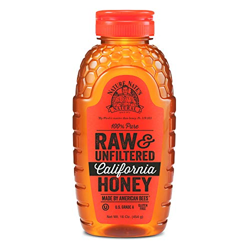 Nature Nate's 100% Pure Raw & Unfiltered California Honey; 16-oz. Squeeze Bottle; Certified Gluten Free & OU Kosher Certified; Made By California Bees, Enjoy Honey'S Balanced Flavors & Goodness