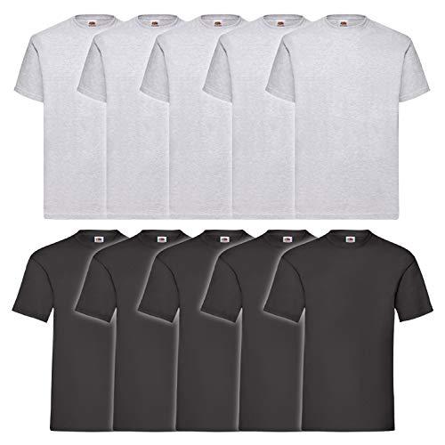 10 Fruit of the loom T Shirts Valueweight S M L XL XXL 3XL 4XL 5XL Übergröße Diverse Farbsets auswählbar (4XL, 5Schwarz/5Grau)