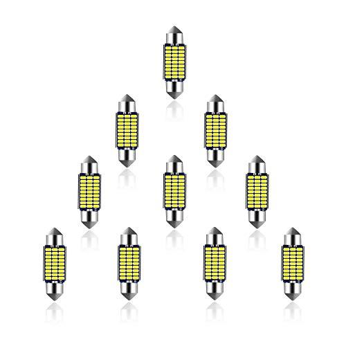 ELINKUME 10x 4W Ampoule 36mm C5W LED Lampe Voiture - Lumière Voiture Pour Lampe Veilleuse Dôme Intérieur Plancher Coffre Culot Arrière Festoon Canbus LED, DC 12V, Blanc 6000K