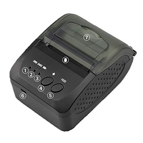 weishenghulian Impresora Bluetooth,Impresora TéRmica Bluetooth, 7.4Vdc / 2000Ma BateríA Soporte Multi-Idioma Carga USB Adecuado para LogíStica/ImpresióN De Facturas De Compras