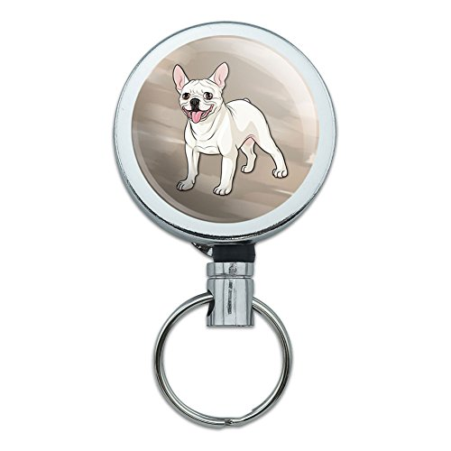All Metal Retractable Reel ID Badge Key Card Holder with Belt Clip Dog Puppy - French Bulldog