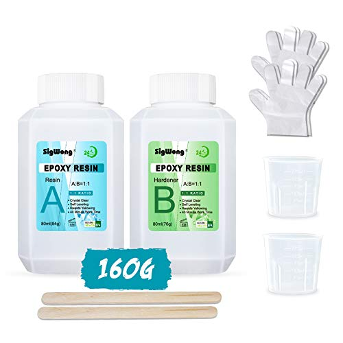 Kit Resina Epoxi - 160ml /160g Resina Epoxi Transparente para Fundición y Revestimiento - Relación 1: 1 de Resina 2 Componentes para Tableros de Mesa, Fabricación de Joyas, Decoración Artesanal
