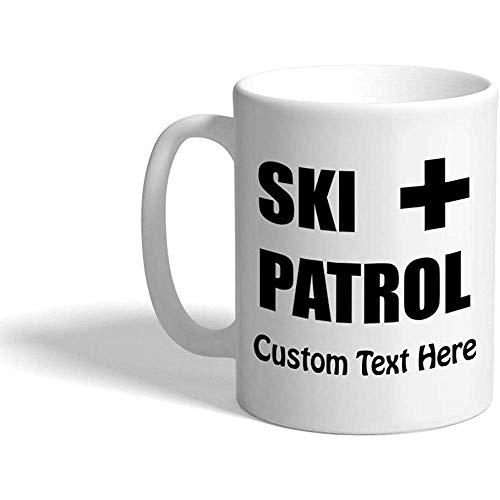 Taza de café de encargo 330 ml Taza de té de cerámica de la naturaleza de la patrulla del esquí Texto personalizado