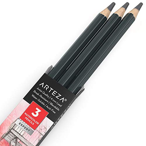 Arteza Professional Watercolor Pencils, Pack of 3, A154 Koala Gray, Water-Soluble Pencils for Coloring, Blending, Layering & Watercolor Techniques