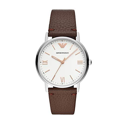 Emporio Armani Herren Analog Quarz Uhr mit Leder Armband AR11173