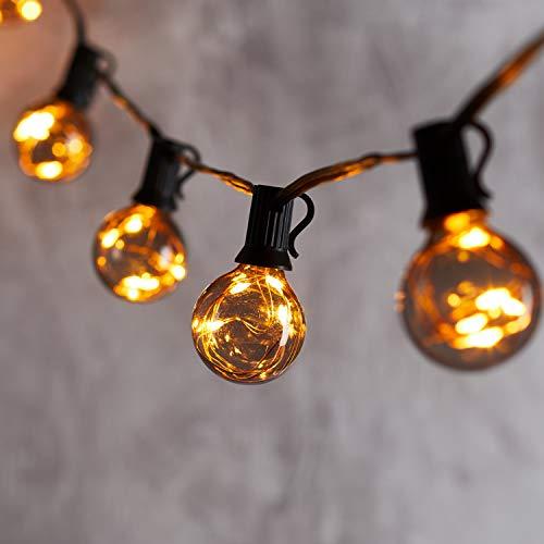 """Lights4fun 50er LED Party Lichterkette mit 10 """"smoked grey"""" G40 Kugeln und Timer batteriebetrieben Innen und Außen 2,25m"""